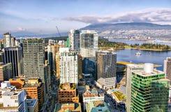 Vancouver-Skyline, Vogelperspektive, Britisch-Columbia Lizenzfreie Stockfotos