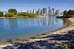 Vancouver skyline, water, urban park Stock Photos
