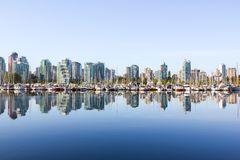 Vancouver skyline, yacht, water Stock Photo