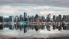 Vancouver-Skylinereflexion im Wasser Stockbilder