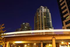 Vancouver Skytrain Night, Commuter Rail Stock Images