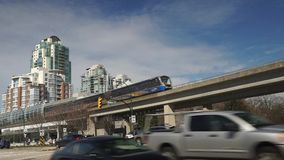 Vancouver SkyTrain station stock footage