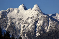 Vancouver Snowy Two Lions Mountains BC Royalty Free Stock Image