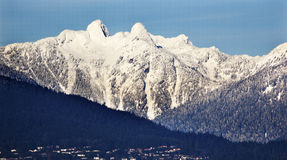 Vancouver Snowy Two Lions Mountains BC Stock Photos