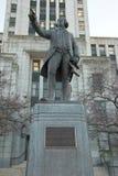 Vancouver stadsHall George Vancouver staty Royaltyfri Fotografi