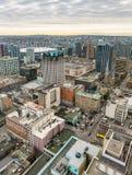 Vancouver stadshorisont från hög synvinkel arkivbild