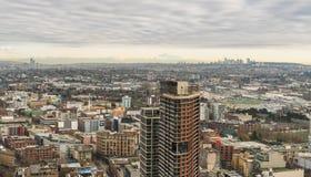 Vancouver stadshorisont från hög synvinkel arkivfoton
