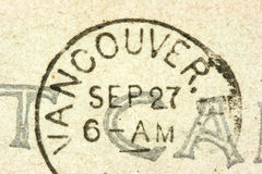 Vancouver stamp. Vintage cancellation stamp from Vancouver on an old post card Stock Photography