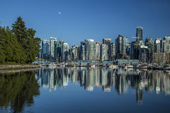 Vancouver at Stanley Park. Cith of Vancouver when viewed from Stanley Park in BC Stock Photos