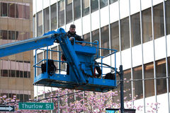 Vancouver Sun Run Photographer high up on crane Stock Photos