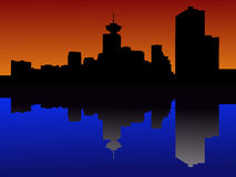 Vancouver at sunset. Vancouver skyline reflected at sunset illustration Stock Image