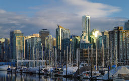 Vancouver Sunset. Downtown Vancouver at sunset, shot from northwest Royalty Free Stock Images