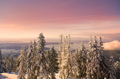 Vancouver Sunset. The sun sets over Vancouver from Grouse Mountain Stock Images