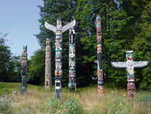 Vancouver Totem Poles Stock Photography
