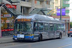 Vancouver Trolley Bus, Vancouver, BC, Canada. Vancouver Trolley Bus Route 6 on Davie Street in downtown Vancouver, British Columbia, Canada Stock Image