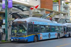 Vancouver Trolley Bus, Vancouver, BC, Canada. Vancouver Trolley Bus Route 6 on Davie Street in downtown Vancouver, British Columbia, Canada Stock Photography