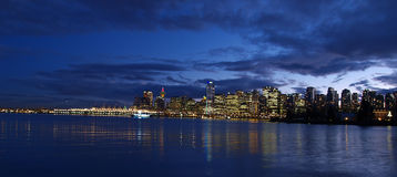 Vancouver twilght. Vancouver skyline as the sun sets Royalty Free Stock Image