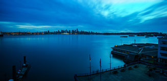 Vancouver Twilight Panorama. Burrard Inlet and downtown Vancouver, shot from Lonsdale Quay in North Vancouver, in March 2014 Royalty Free Stock Photo