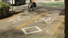 Vancouver Urban Bicycle Crossing stock video footage