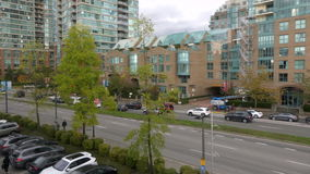 Vancouver urban landscape. Moving shot from Vancouver skytrain stock footage