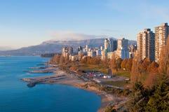 Vancouver van de binnenstad bij zonsondergang Stock Afbeelding