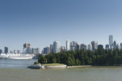 Vancouver view with cruise harbour Royalty Free Stock Photo