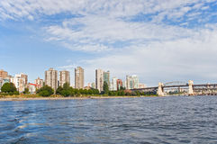 Vancouver waterfront. A view of buildings and skyline along the waterfront in Vancouver, British Columbia, Canada Royalty Free Stock Photo