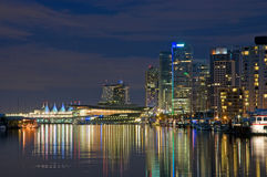 Vancouver waterfront at night. A panoramic view of the waterfront, marina and nighttime skyline of Vancouver, British Columbia, Canada Stock Photo