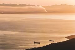 Vancouver widok od pardwy góry w Północnym Vancouver, BC, Kanada zdjęcie stock