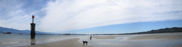 Vancouverama. A panorama of Vancouver from Spanish Banks beach at low tide. Although it's a small part of the photo, you can see Vancouver's downtown in the Royalty Free Stock Image
