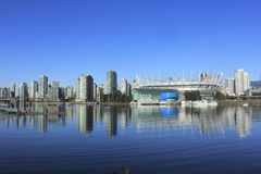Vancouvers Entertainment District. Looking northwest across False Creek to downtown Vancouver and its entertainment district Stock Image