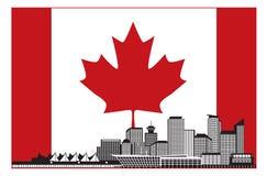 Vancouvers Skyline BC Kanada in der kanadischen Flaggen-Vektor-Illustration Lizenzfreie Stockfotografie