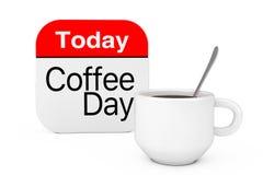 Vandaag is het Pictogram van de Koffiedag dichtbij Kop van Koffie het 3d teruggeven Royalty-vrije Stock Fotografie
