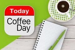Vandaag is het Pictogram van de Koffiedag, Leeg Notastootkussen met Pen en Kop van Cof Stock Afbeelding