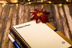 Vandaag het Plan van ` s op een notitieboekje als motieven bedrijfsconcept Royalty-vrije Stock Afbeelding