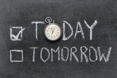 Vandaag versus morgen Stock Foto