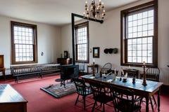 VANDALIA伊利诺伊- Vandalia州议会议场,伊利诺伊第一栋状态国会大厦内部1836-1839和家庭亚伯拉罕・林肯站点 库存照片