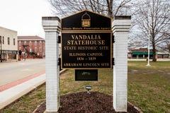 VANDALIA伊利诺伊- Vandalia州议会议场,伊利诺伊第一栋状态国会大厦1836-1839和家庭亚伯拉罕・林肯站点 免版税图库摄影
