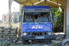 Vandalised a abandonné le camion photographie stock