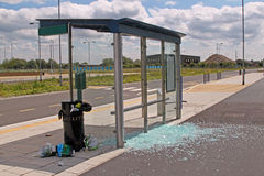 Vandalised bus stop. Royalty Free Stock Photography