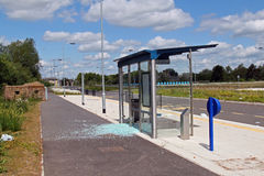 Vandalised bus stop Stock Photography