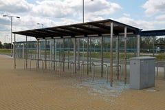 Vandalised bus stop. Royalty Free Stock Photo
