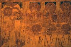 Vandaliserad kyrklig symbol Arkivbilder