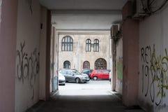 Vandaliserad och mörk passage Royaltyfri Fotografi