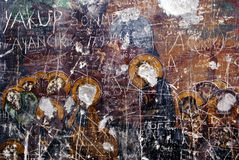 Vandalism. Fresco in curch, cave in Sumela monastery, near Trabzon, Turkey Royalty Free Stock Image