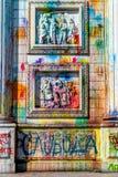 Vandalism av den triumf- bågen i Skopje arkivfoton