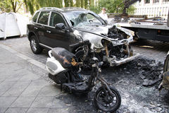 Vandalism in Berlin. CIRCA AUGUST 2013 - BERLIN: a burned out car in the Wedding district of Berlin - vandalism acts like this have become a common sight in Stock Image