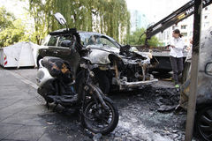 Vandalism in Berlin. CIRCA AUGUST 2013 - BERLIN: a burned out car in the Wedding district of Berlin - vandalism acts like this have become a common sight in Royalty Free Stock Image