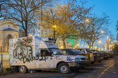 Vandalism of cars in the parking. BUCHAREST, ROMANIA - DECEMBER 13, 2014: Vandalising of cars during night in Bucharest is a frequent act if an owner leaves his Royalty Free Stock Image