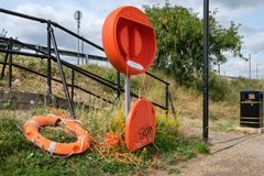 Vandalism caused to a lifting seen near a large inland river in Kent. stock image